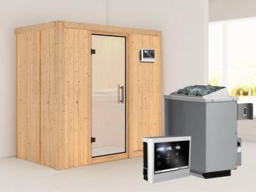 Karibu System Sauna Variado (Fronteinstieg) 68 mm  inkl. Ofen 9 kW Bio-Kombi ext. Steuerung - mit satinierter Ganzglastür