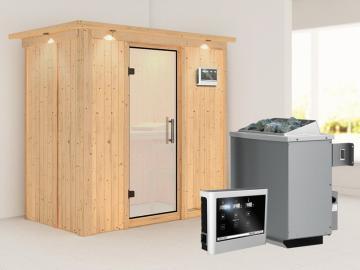 Karibu System Sauna Variado (Fronteinstieg) 68 mm mit Dachkranz inkl. Ofen 9 kW ext. Steuerung - mit satinierter  Ganzglastür