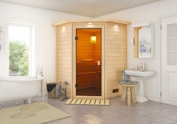 Sauna-Spar-Set: Karibu Scandic Sauna 38 mm Massiv Helsinki 1 Classic (Eckeinstieg) für niedrige Räume inkl. 3,6 KW Finnisch-Ofen int. Strg. und Zubehör - Selbstbausatz