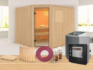 Karibu Systembau Sauna Horna Classic (Eckeinstieg) 68 mm inkl. Biokombi-Ofen + ext. Strg. und Zubehör