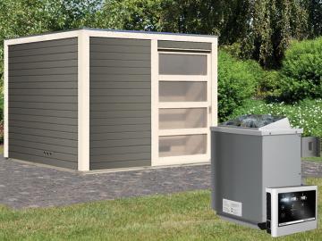 Karibu Systemsaunahaus 38 mm Saunahaus Cuben Ofen 9 kW Bio externe Strg easy  Gartensauna