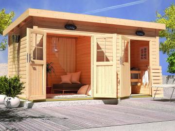 Karibu 38mm Gartensauna Pultdachhaus Nuuka ohne Ofen - Nebenraum (Multifunktionshaus) - naturbelassen