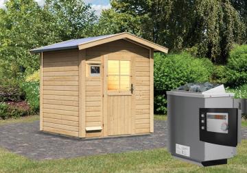 Sauna-Spar-Set: Karibu Scandic Saunahaus 38 mm Massiv Stockholm 1 (Maße: 196x196 cm) inkl. 9 KW Finnisch-Ofen ext. Strg. und Zubehör ohne Kabelsatz - Selbstbausatz