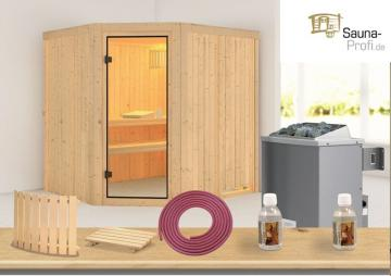 Karibu Systembau Sauna Bodo Classic (Eckeinstieg) 68 mm inkl. Ofen und Zubehör