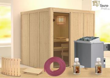 Karibu Systembau Sauna Nybro Classic (Fronteinstieg) 68 mm inkl. finnischem Ofen und Zubehör