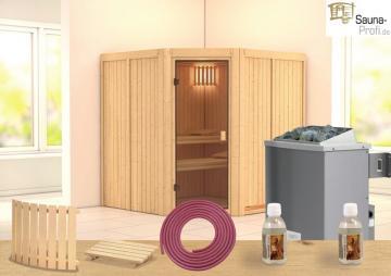 Karibu Systembau Sauna Tonnes Classic (Eckeinstieg) 68 mm inkl. Ofen und Zubehör