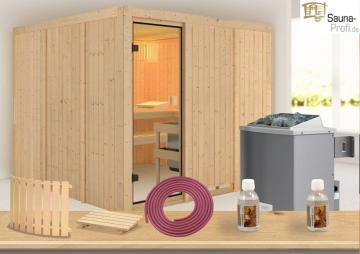 Karibu Systembau Sauna Ornes Classic (Fronteinstieg) 68 mm inkl. Ofen und Zubehör