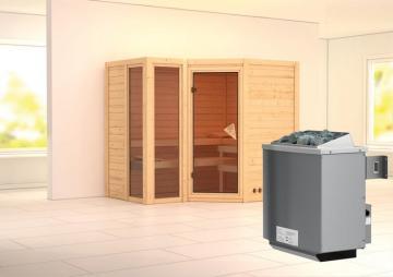 Karibu Heimsauna Amara (Eckeinstieg) Ofen 9 kW integr. Strg  Kein Kranz 40 mm Massivholzsauna