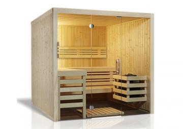 Infraworld Sauna auf Maß Opal Fichte Elementbauweise von Länge 117 - 219 cm Breite 180 - 220 cm