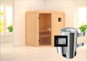 Karibu Heimsauna Sparset Tonja  (Eckeinstieg) Ofen 3,6 kW Bio-Ofen externe Strg. modern 187*169*202 cm Plug & Play 230Volt Sauna