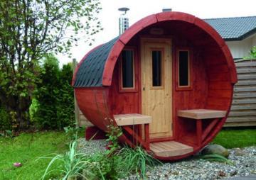 Wolff Finnhaus Saunafass 250 Selbst-Bausatz - inkl. roten Dachschindeln - Gartensauna Ø200 x 250 cm