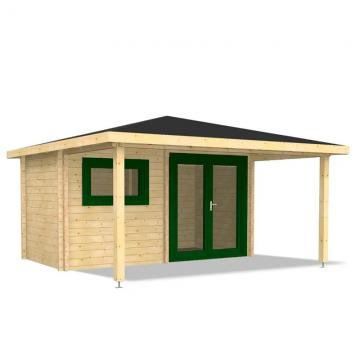 Infraworld Exklusiv-Ausführung 70mm Walmdachhaus Gartensauna aus nordischer Fichte - Bella 2 - Fenster & Türen farbig lackiert
