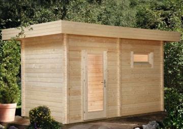 Wolff Finnhaus Gartensauna Saunahaus Mikko 70 Pultdach-Sauna - 70 mm Massivholz - naturbelassen