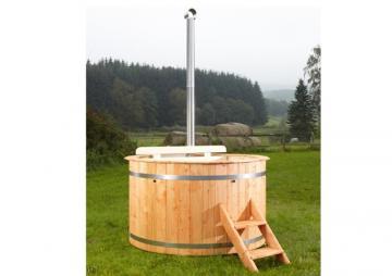 Wolff Finnhaus Badebottich Hot Tub Badefass - Ø180 cm inkl. Holz-Ofen und Zubehör