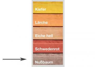 Wolff Finnhaus Badebottich: Farbliche Erstbehandlung - Nußbaum