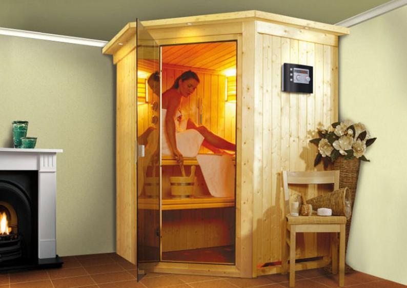 sonderangebot karibu element sauna 230 volt nanja eckeinstieg. Black Bedroom Furniture Sets. Home Design Ideas