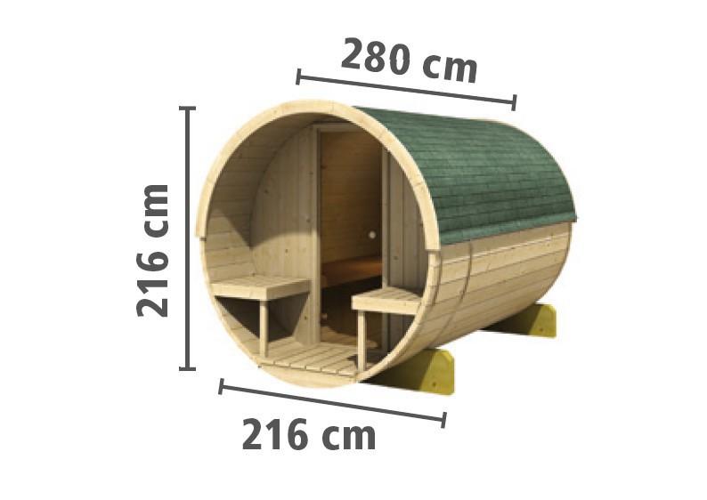 karibu gartensauna fass sauna 2 mit terrasse inkl ofen 9 kw ext steuerung. Black Bedroom Furniture Sets. Home Design Ideas