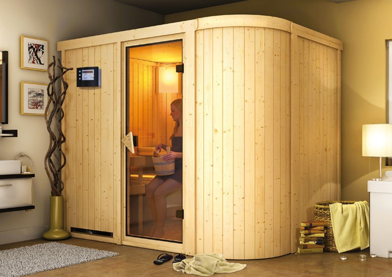 karibu system sauna titania 4 fronteinstieg 68 mm inkl. Black Bedroom Furniture Sets. Home Design Ideas