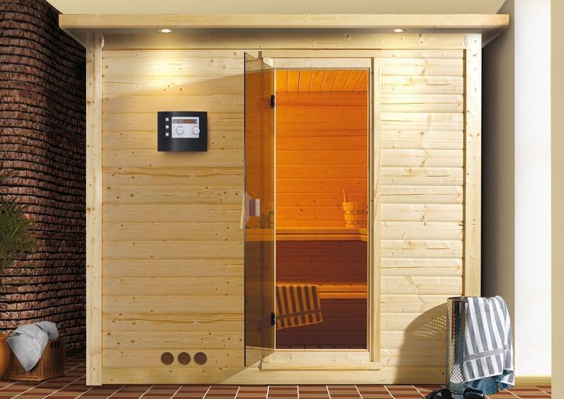 karibu massiv sauna mojave classic fronteinstieg 40 mm mit dachkranzinkl ofen 9 kw ext steuerung. Black Bedroom Furniture Sets. Home Design Ideas