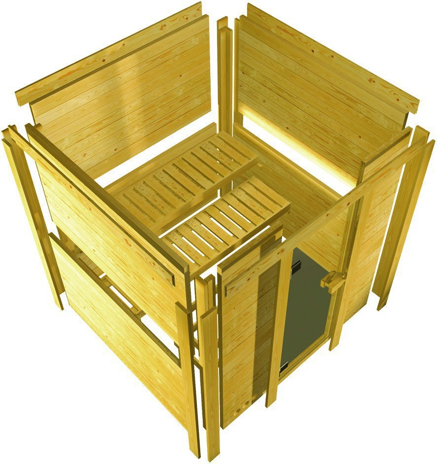 karibu massiv sauna sinai 3 eckeinstieg 40 mm mit dachkranz inkl ofen 9 kw bio kombi ext. Black Bedroom Furniture Sets. Home Design Ideas