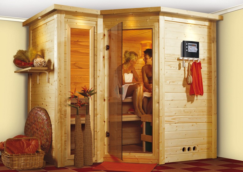 karibu massiv sauna sahib 2 classic eckeinstieg 40 mm mit dachkranz inkl ofen 9 kw bio kombi. Black Bedroom Furniture Sets. Home Design Ideas