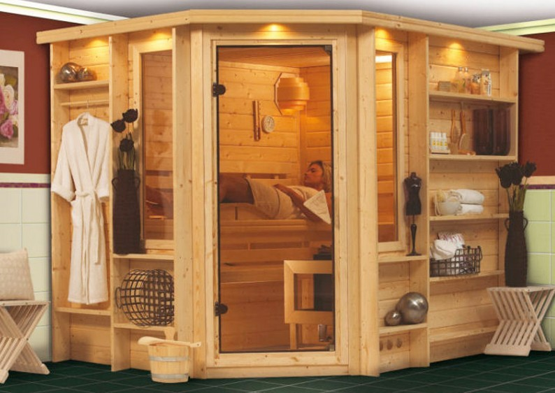 karibu massiv sauna riona eckeinstieg 40 mm mit. Black Bedroom Furniture Sets. Home Design Ideas