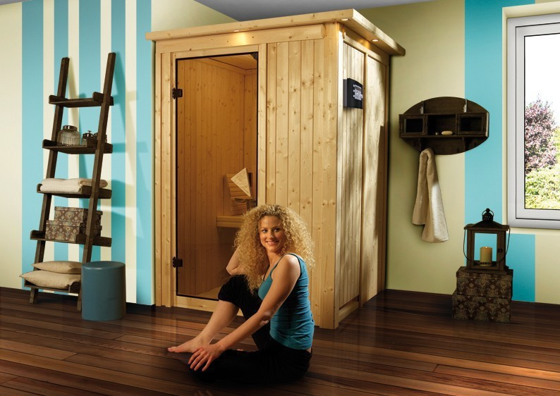 karibu system sauna 230 volt lenja fronteinstieg 68 mm mit dachkranz inkl ofen 3 6 kw ext. Black Bedroom Furniture Sets. Home Design Ideas