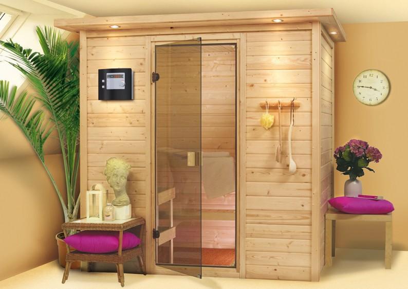 karibu massiv sauna 230 volt ronja fronteinstieg 38 mm mit dachkranz inkl ofen 3 6 kw bio. Black Bedroom Furniture Sets. Home Design Ideas