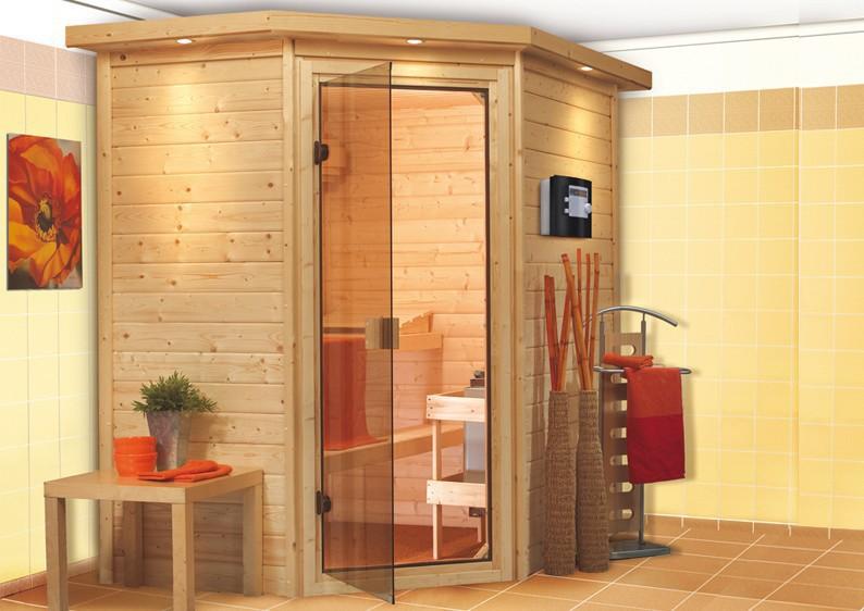 karibu massiv sauna 230 volt cilja eckeinstieg 38 mm inkl ofen 3 6 kw integr steuerung. Black Bedroom Furniture Sets. Home Design Ideas