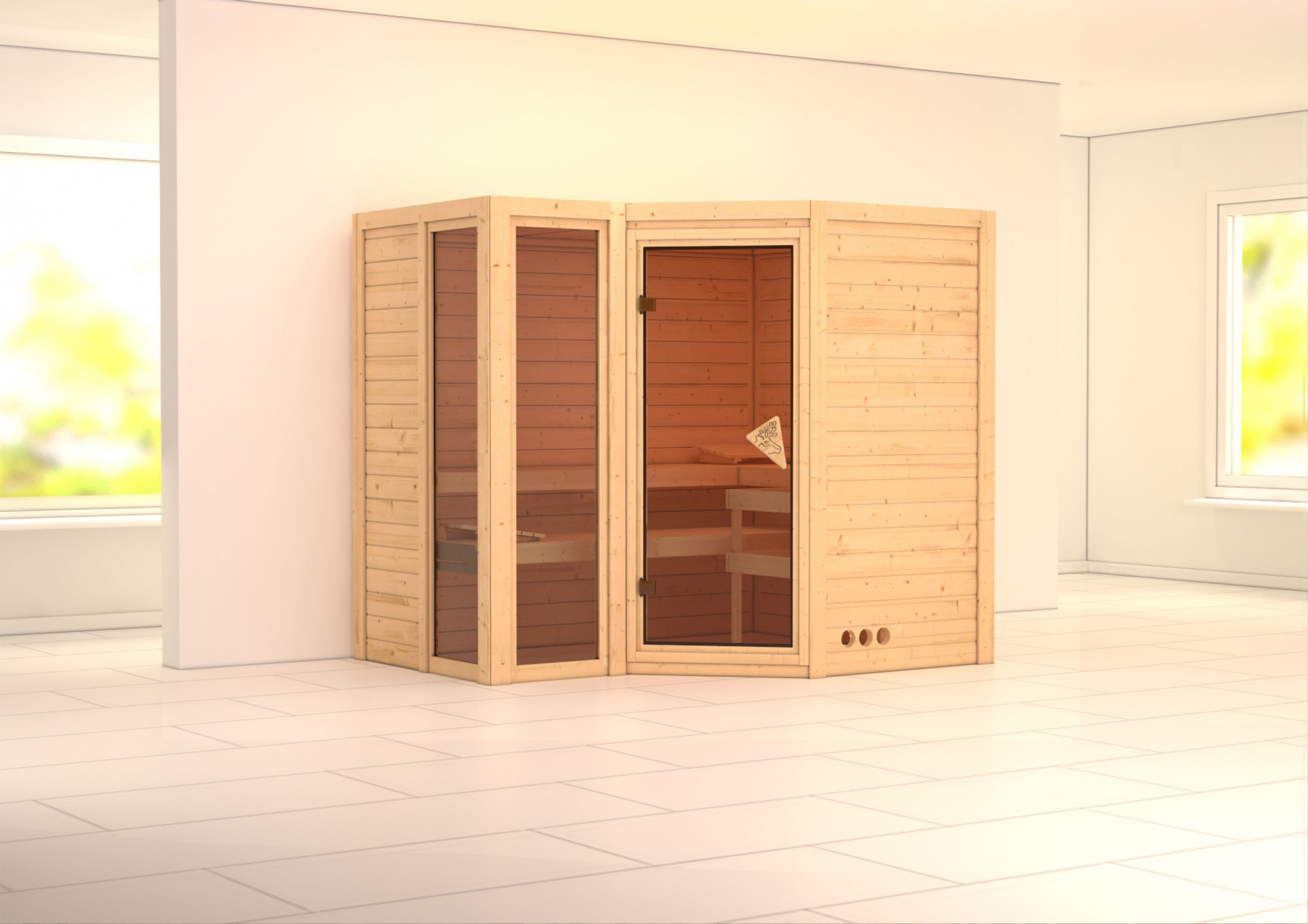 karibu massiv sauna amara eckeinstieg 40 mm mit dachkranz ohne zubeh r. Black Bedroom Furniture Sets. Home Design Ideas