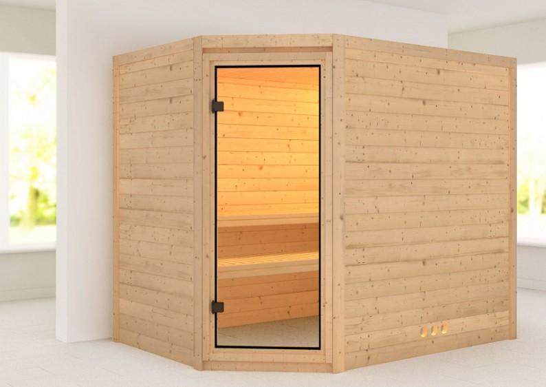 karibu massiv sauna tanami eckeinstieg 40 mm ohne zubeh r. Black Bedroom Furniture Sets. Home Design Ideas