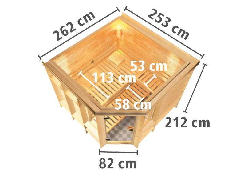karibu massiv sauna marona eckeinstieg 40 mm mit dachkranz ohne zubeh r. Black Bedroom Furniture Sets. Home Design Ideas