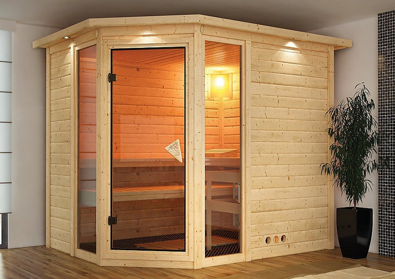 karibu massiv sauna sinai 3 eckeinstieg 40 mm ohne zubeh r. Black Bedroom Furniture Sets. Home Design Ideas