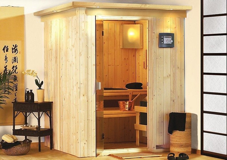 karibu system sauna 230 volt minja fronteinstieg 68 mm mit dachkranz. Black Bedroom Furniture Sets. Home Design Ideas