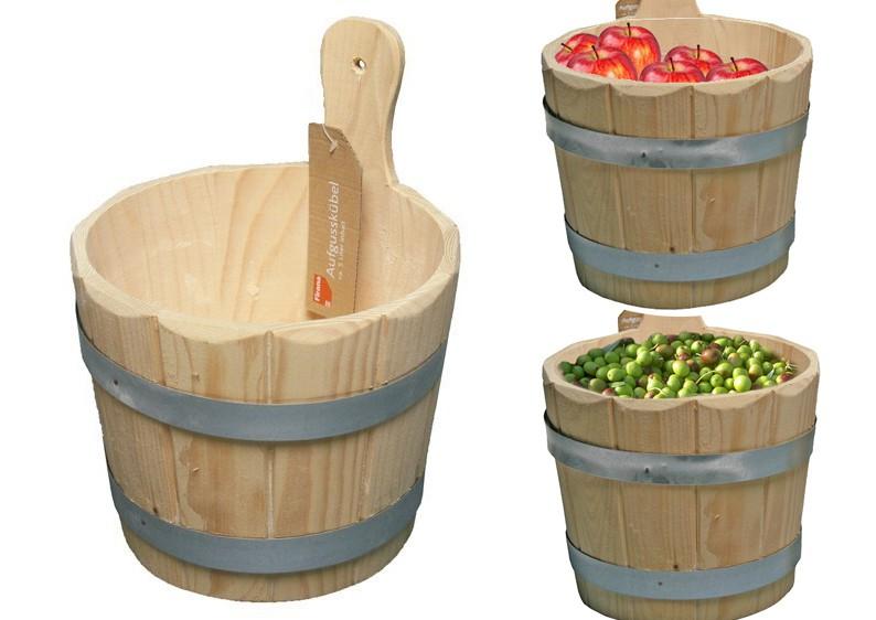 b ware sauna k bel holzk bel 5 liter f r aufguss gem se obst k se. Black Bedroom Furniture Sets. Home Design Ideas
