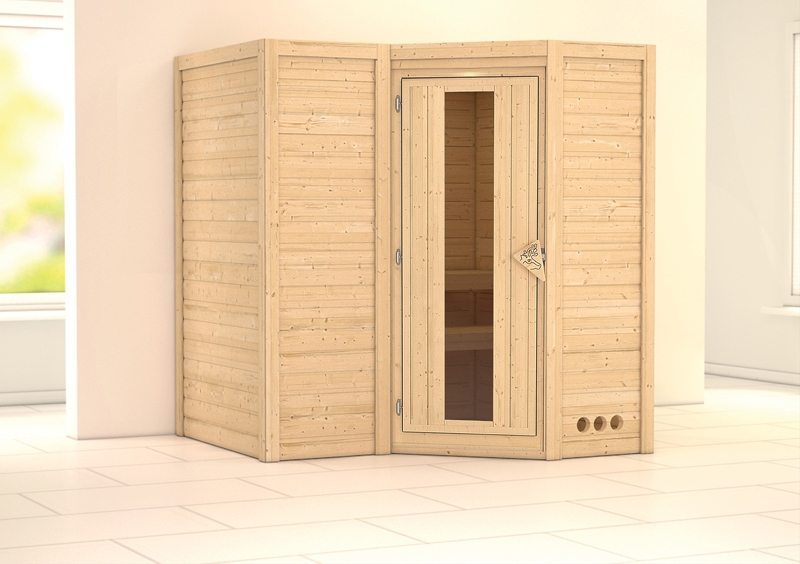 karibu massiv sauna sahib 1 energiespart r eckeinstieg 40 mm ohne zubeh r. Black Bedroom Furniture Sets. Home Design Ideas