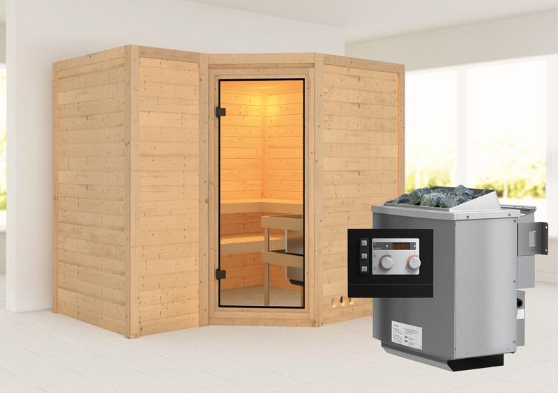 karibu massiv sauna sahib 2 classic eckeinstieg 40 mm inkl ofen 9 kw mit integr steuerung. Black Bedroom Furniture Sets. Home Design Ideas