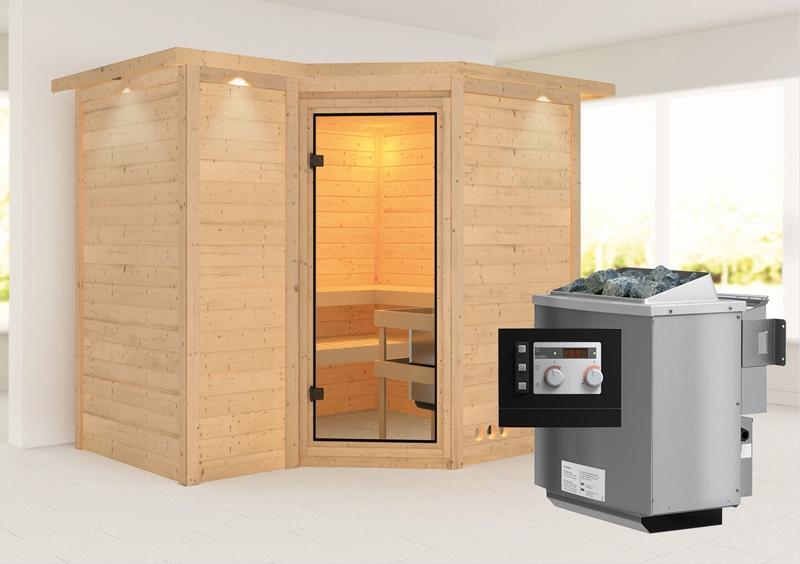 karibu massiv sauna sahib 2 classic eckeinstieg 40 mm mit dachkranz inkl ofen 9 kw mit integr. Black Bedroom Furniture Sets. Home Design Ideas