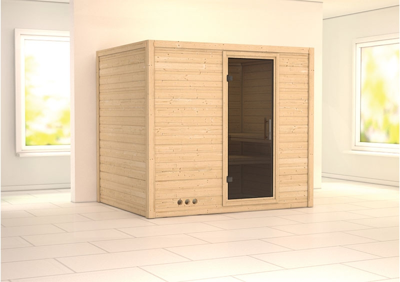 karibu massiv sauna sonara modern fronteinstieg 40 mm ohne zubeh r. Black Bedroom Furniture Sets. Home Design Ideas