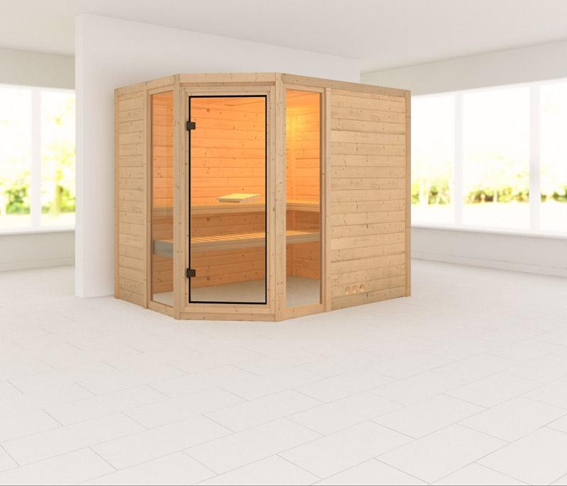 karibu massiv sauna sinai 3 eckeinstieg 40 mm ohne zubeh r. Black Bedroom Furniture Sets. Home Design Ideas