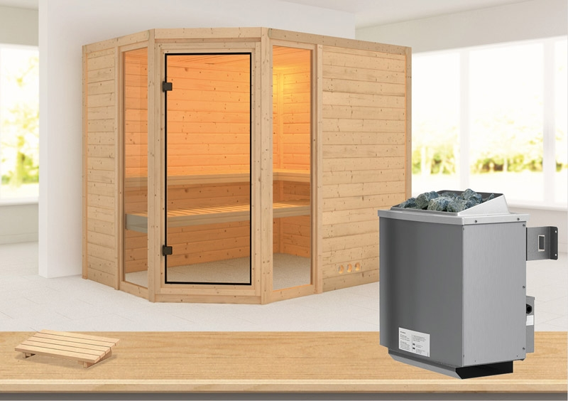 karibu massiv sauna sinai 3 eckeinstieg 40 mm inkl ofen 9 kw mit integr steuerung. Black Bedroom Furniture Sets. Home Design Ideas