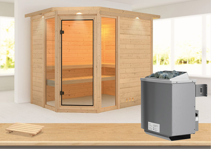 karibu massiv sauna sinai 3 eckeinstieg 40 mm mit dachkranz inkl ofen 9 kw mit integr steuerung. Black Bedroom Furniture Sets. Home Design Ideas