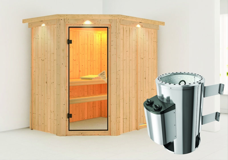 karibu system sauna 230 volt saja eckeinstieg 68 mm mit dachkranz inkl ofen 3 6 kw integr. Black Bedroom Furniture Sets. Home Design Ideas
