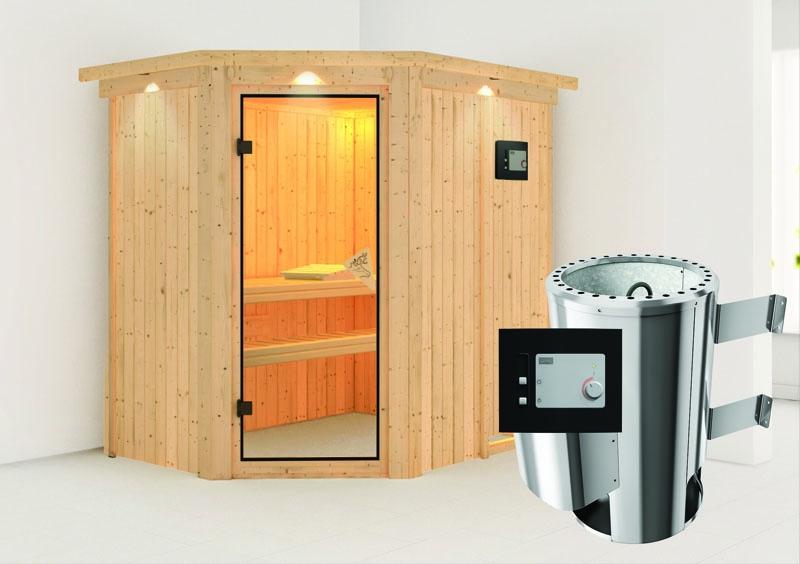 karibu system sauna 230 volt saja eckeinstieg 68 mm mit dachkranz inkl ofen 3 6 kw ext steuerung. Black Bedroom Furniture Sets. Home Design Ideas