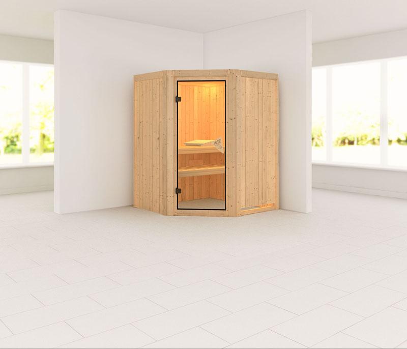 karibu system sauna 230 volt nanja eckeinstieg 68 mm. Black Bedroom Furniture Sets. Home Design Ideas