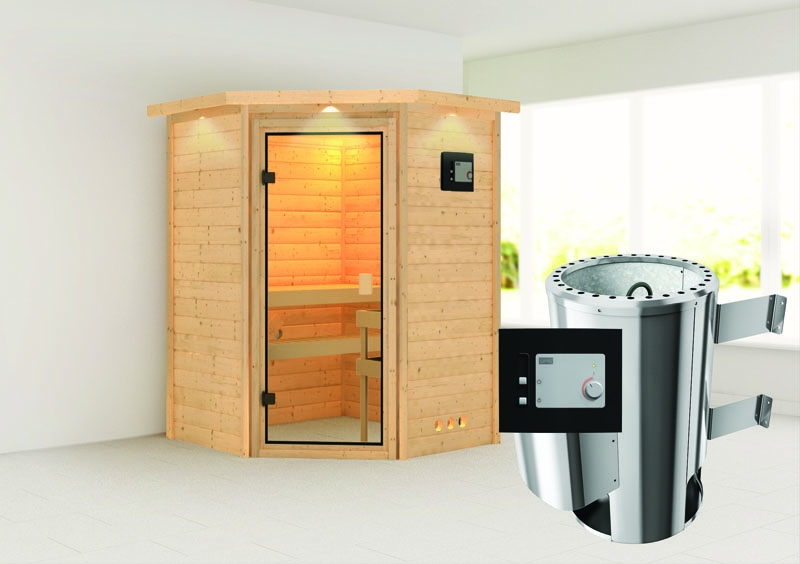 karibu massiv sauna 230 volt alicja eckeinstieg 38 mm mit dachkranz inkl ofen 3 6 kw ext. Black Bedroom Furniture Sets. Home Design Ideas