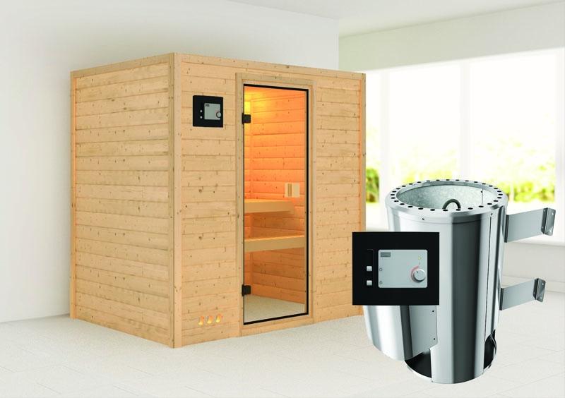 karibu massiv sauna 230 volt ronja fronteinstieg 38 mm inkl ofen 3 6 kw ext steuerung. Black Bedroom Furniture Sets. Home Design Ideas