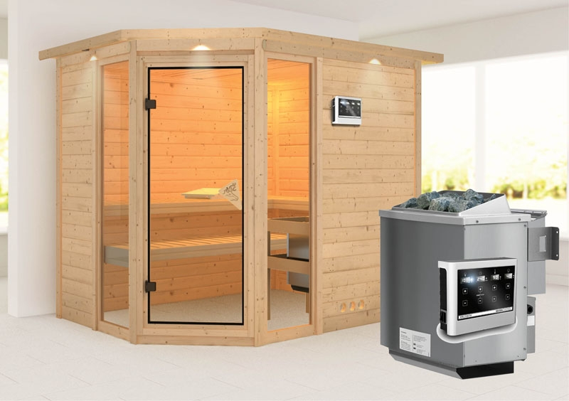 karibu massiv sauna sinai 3 eckeinstieg 40 mm mit dachkranz inkl ofen 9 kw bio kombi ext. Black Bedroom Furniture Sets. Home Design Ideas