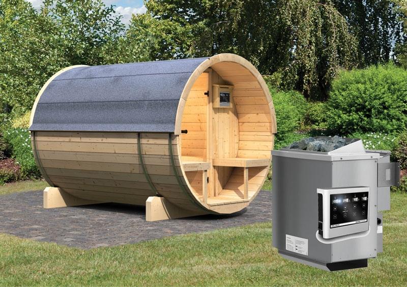karibu gartensauna fass sauna 2 mit terrasse inkl ofen 9 kw bio kombi ext steuerung. Black Bedroom Furniture Sets. Home Design Ideas