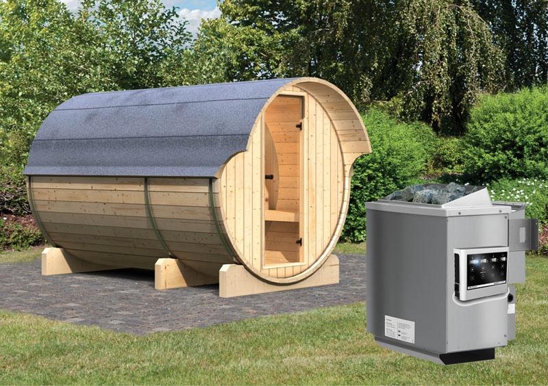 Gartensauna Fass-Sauna 3 mit Vorraum inkl. Ofen 9 kW Bio-Kombi ext ...